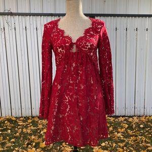 Red Lace Front-Tie Dress